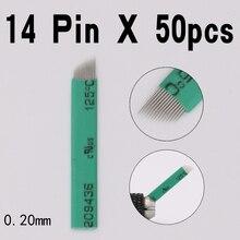 50 шт./упак. 14 Pin 0,20 мм Перманентный макияж лезвие микроблейдинг иглы для 3D вышивка ручная Татуировка ручка