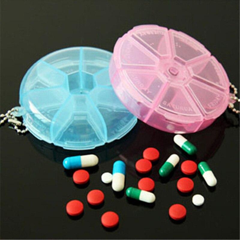 3 шт. круговой вращающийся таблетницы 7 слота круглая Tablet таблетки медицина коробка для хранения держатель Организатор украшений брелок