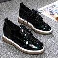 vintage women's high platform oxfords shoes female lace up thick soled brogue shoes zapatillas Feminino sapatos casuais XK122005