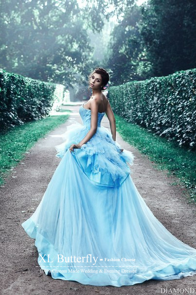 Vestido de noiva Blue Princess Wedding Dresses 2016 Ruffles ...