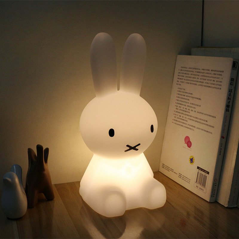 H28CM Rabbit Table Lamp Modern Led Night Light USB for Children Baby Kids Gift Animal Cartoon Decorative Bedside Bedroom kawaii animal lamp 3d led night light lovely cartoon rabbit multicolor change table home child bedroom decor kids birthday gift