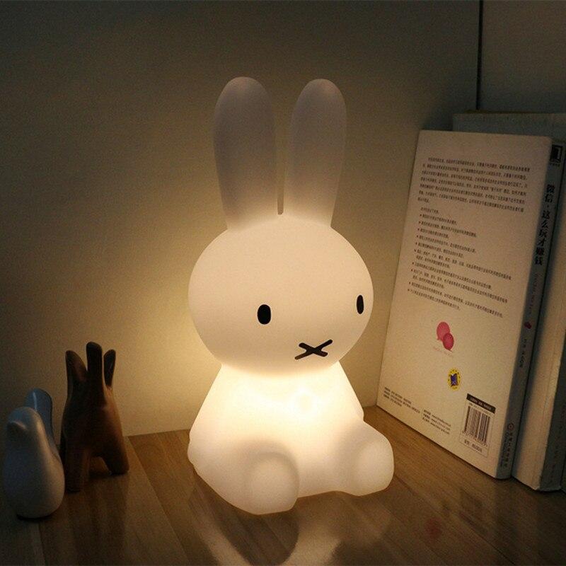 H28CM Rabbit Table Lamp Modern Led Night Light USB for Children Baby Kids Gift Animal Cartoon Decorative Bedside Bedroom