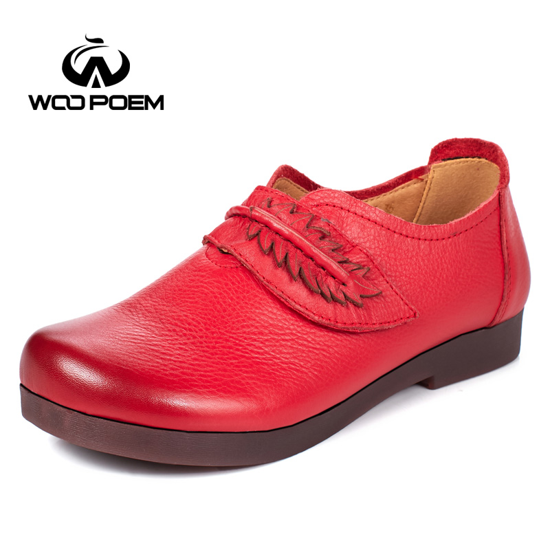 WooPoem Loafers Shoes Woman Breathable Genuine Leather Flats Slip-On Low Heel Soft Cow Muscle Sole Red Casual Women Shoes 1853 siketu sweet bowknot flat shoes soft bottom casual shallow mouth purple pink suede flats slip on loafers for women size 35 40