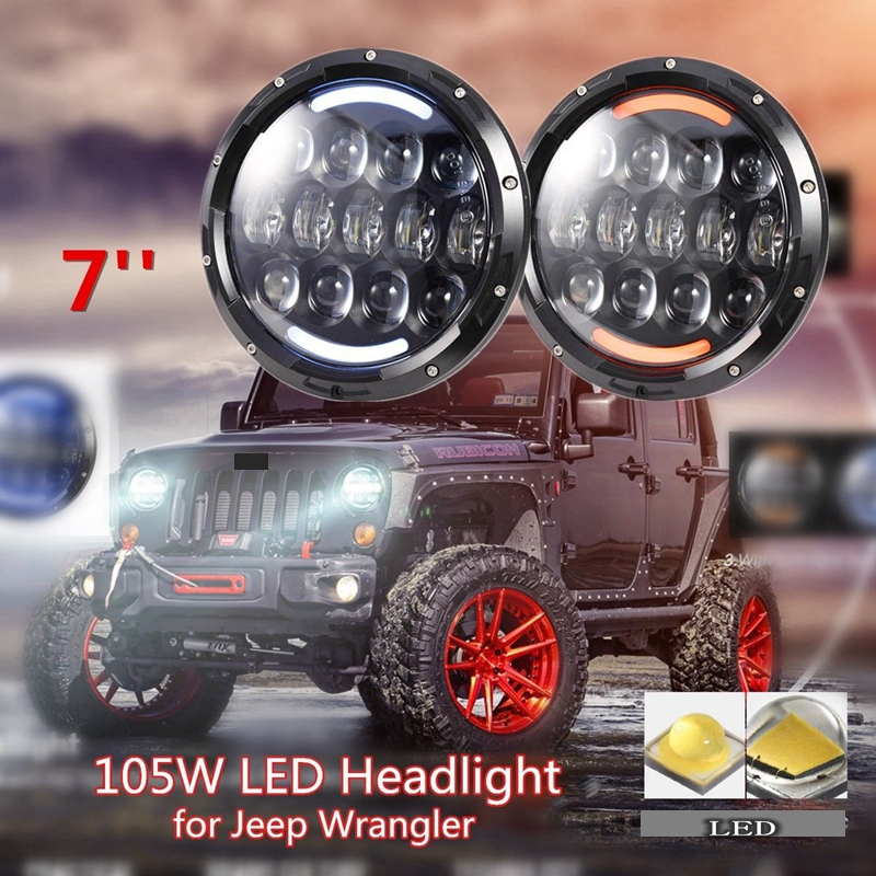 TNOOG car styling 7 Inch 105W Round Daymaker LED Projector Headlight with DOT E9 for Jeep Wrangler and for harley Davidson
