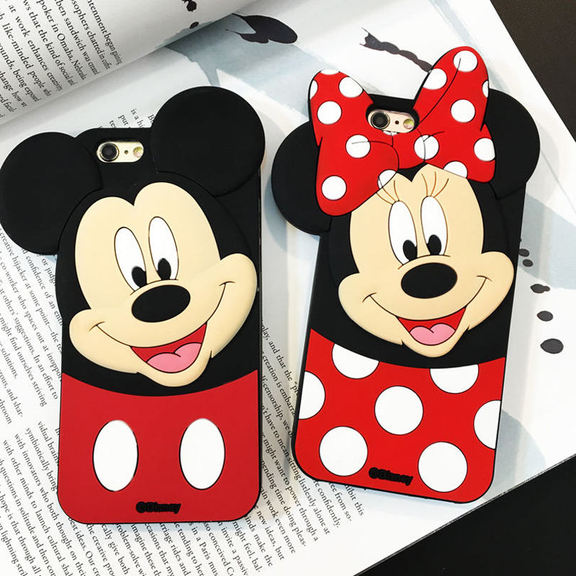 Cute Cartoon Black Minnie Mouse Mickey Mouse Silicone Soft Case Cover Cases for Apple iPhone 4 4s 5 5s SE 6 6s 7 8 Plus X