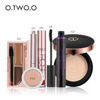 O TWO O Makup Tool 6Pcs Including Mascara Pressed Powder Lip Gloss Eyeliner Concealer Cream Eyebrow