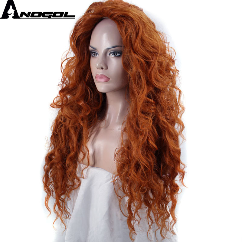 Anogol Free Part Brave Long Orange Deep Wave Movie High Temperature Fiber Synthetic Hair Princess Cosplay Wigs For Halloween