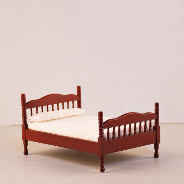 Doub K 1:12 Dollhouse Miniature Simulation Bed Wooden Furniture Toy Kawaii  Bedroom Pretend Play