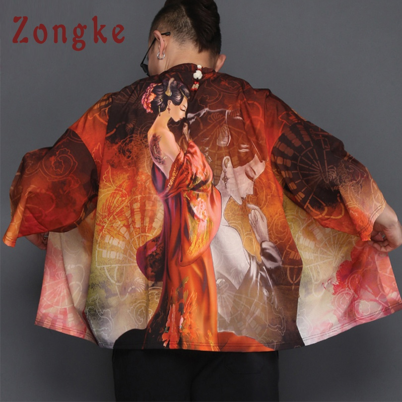Zongke Chinese Kimono Cardigan Men Beauty Print Long Kimono Cardigan Men Summer Red Robe Kimono Male Thin Jacket Coat 2018