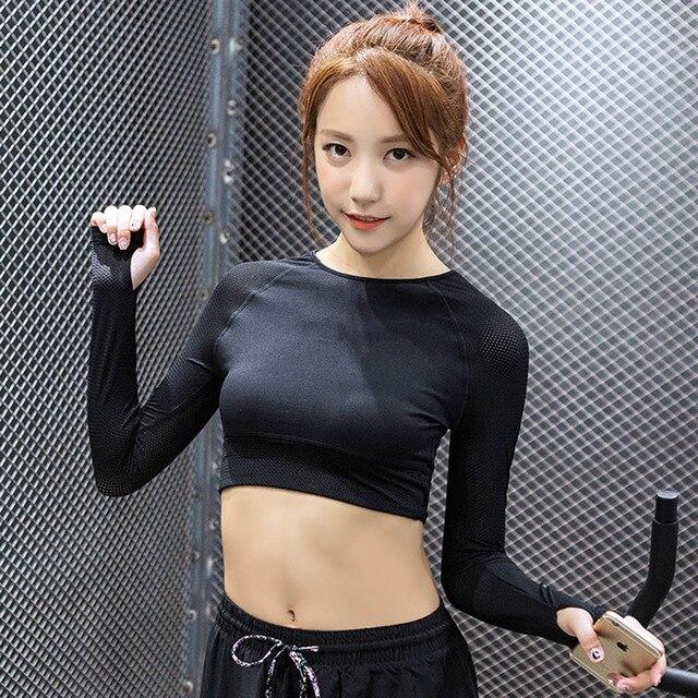 2018 Women Gym Black Yoga Crop Tops Yoga Shirts Long Sleeve Workout