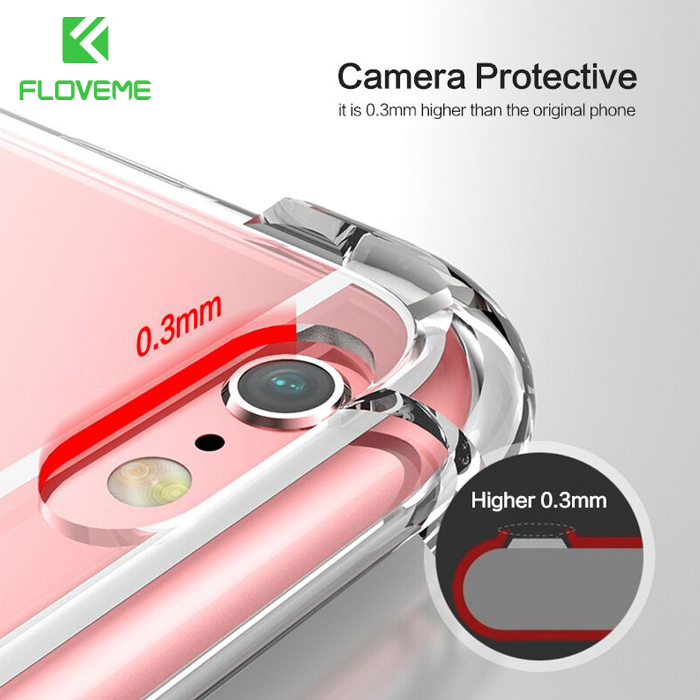 FLOVEME Phone Cases For iPhone 7 6s 6 Plus Clear Soft TPU Slim Shockproof Transparent Phone Cover For iPhone 6 6s 7 X Case Coque