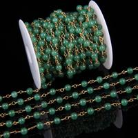 4mm 6mm Wire Wrapped Plated Golden Chains Making Necklace Natural Green Color Malaysian Jade Smooth Round
