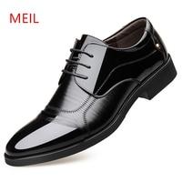 Height increasing 6CM Men Dress shoes Split Leather Oxford shoes Brown Black Man Wedding Business Shoes Men formal Dress shoe
