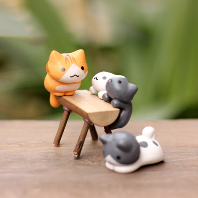 Lovely 6pcs/set Cartoon Lucky Cat Micro Landscape Kitten Miniature Craft Home Garden Bonsai Decorations Miniatures Gift 4