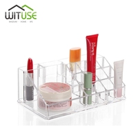 WITUSE 16 Grids Lipstick Holder Acrylic Cosmetic Organizer Display Stand Clear Makeup Organizer Storage Container Makeup