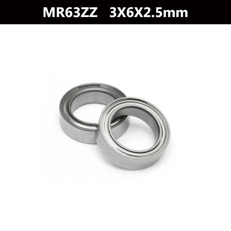 Alta calidad 10 unids MR63ZZ ABEC-5 3X6X2,5mm los rodamientos de bolas de ranura profunda MR63 L-630 ZZ