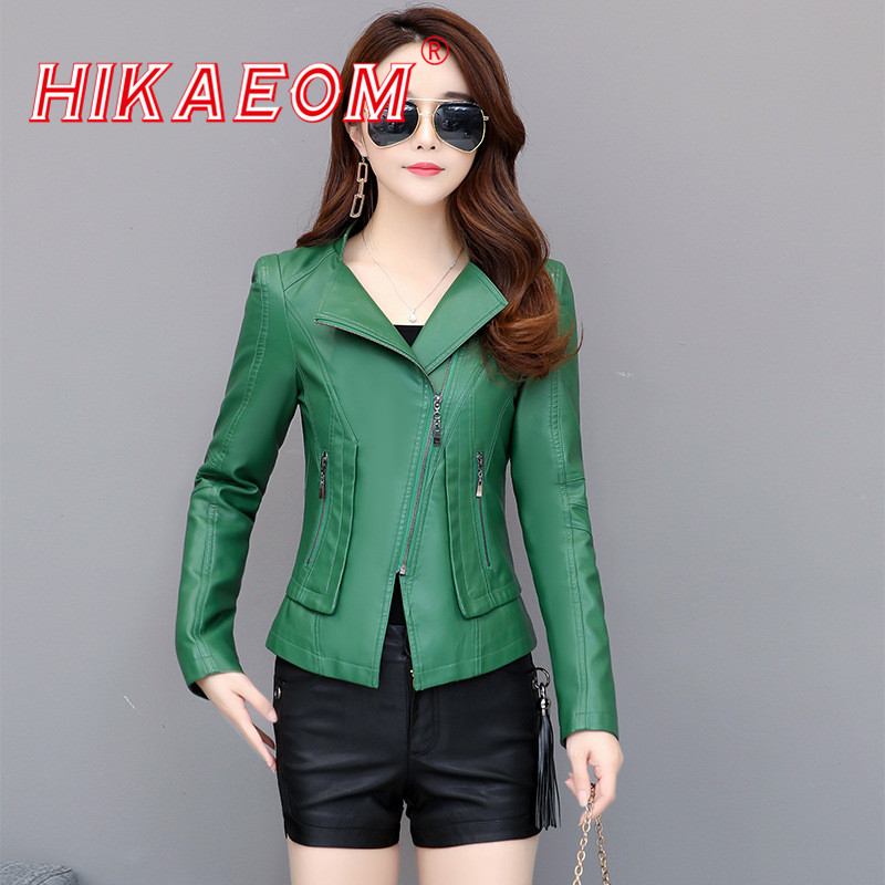 Long Sleeve Slim Zipper Motorcycle   Leather   Clothing Female 2019 Spring And Autumn New Fashion Short PU   Leather   Jackets