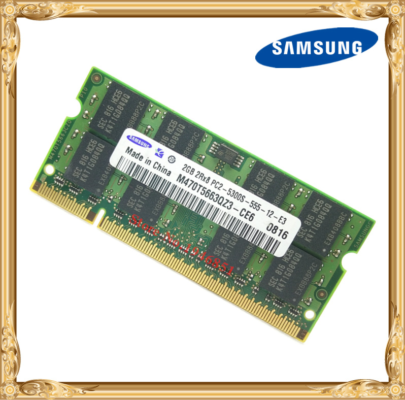 Samsung Laptop Memory 2GB 667MHz PC2-5300 DDR2 Notebook RAM 667 5300S 2G 200-pin SO-DIMM Free Shipping