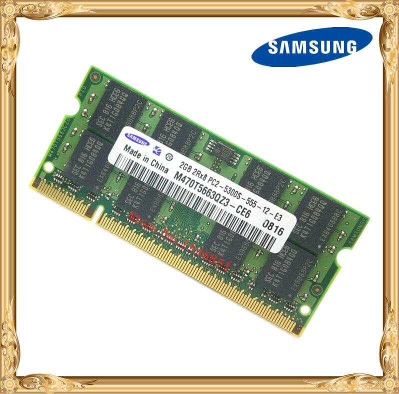 Samsung Laptop speicher 2 GB 667 MHz PC2-5300 DDR2 Notebook RAM 667 5300 S 2G 200-poligen SO-DIMM Kostenloser versand