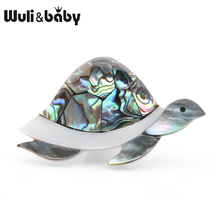 Wuli&baby Natural Shell Big Turtle Brooches Women Men Animal Brooch Pins Mom Grandmothers Gifts
