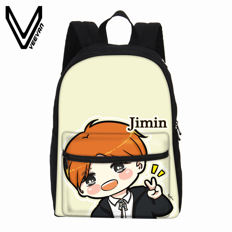 VEEVANV Design Women Backpack Female Cute Cartoon BTS Backpack Bigbang GD Shoulder Bag Canvas Printing Backpack School Bag Girls