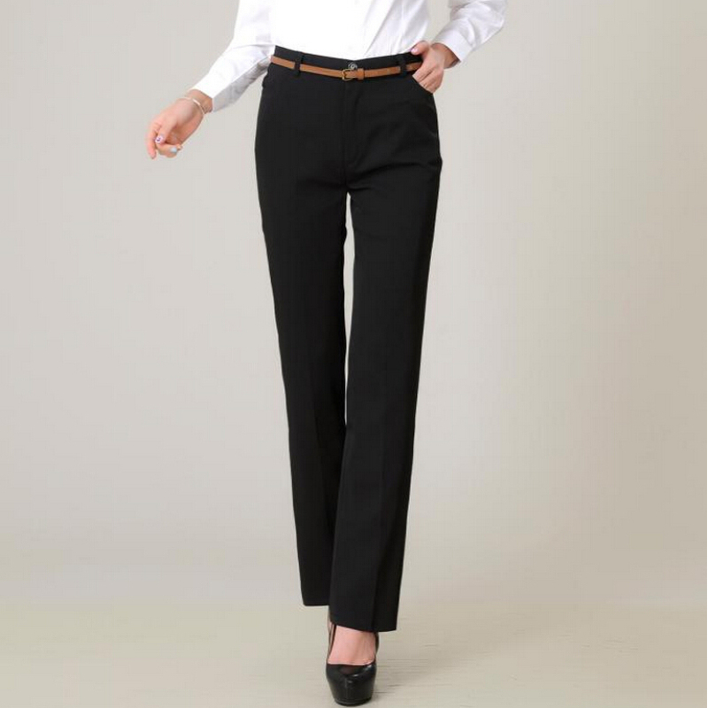 2016 Women High Waist Long Pants Suit Professional Formal Straight Pants Plus Size Pants Women ...
