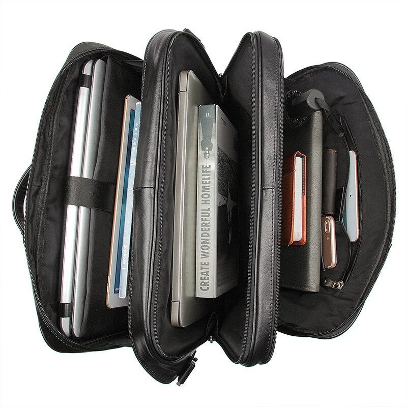 Nesitu винтажный большой кофейный Черный Коричневый мужской портфель из натуральной кожи Офисные Сумки 17 портфель для ноутбука # M7289 - 4