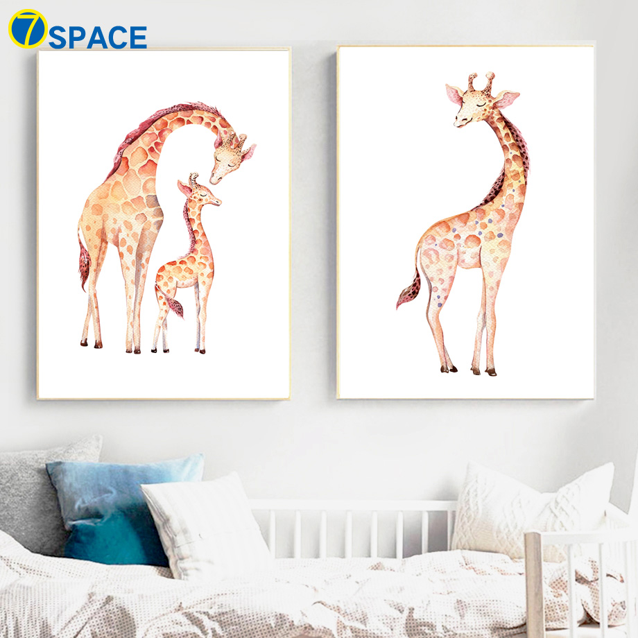 Nursery Prints Girl Cute Giraffe Family Nordic Posters And Prints Wall Art Canvas Painting Nursery Prints Wall Pictures For Baby Girl Boy Room Decor In Painting
