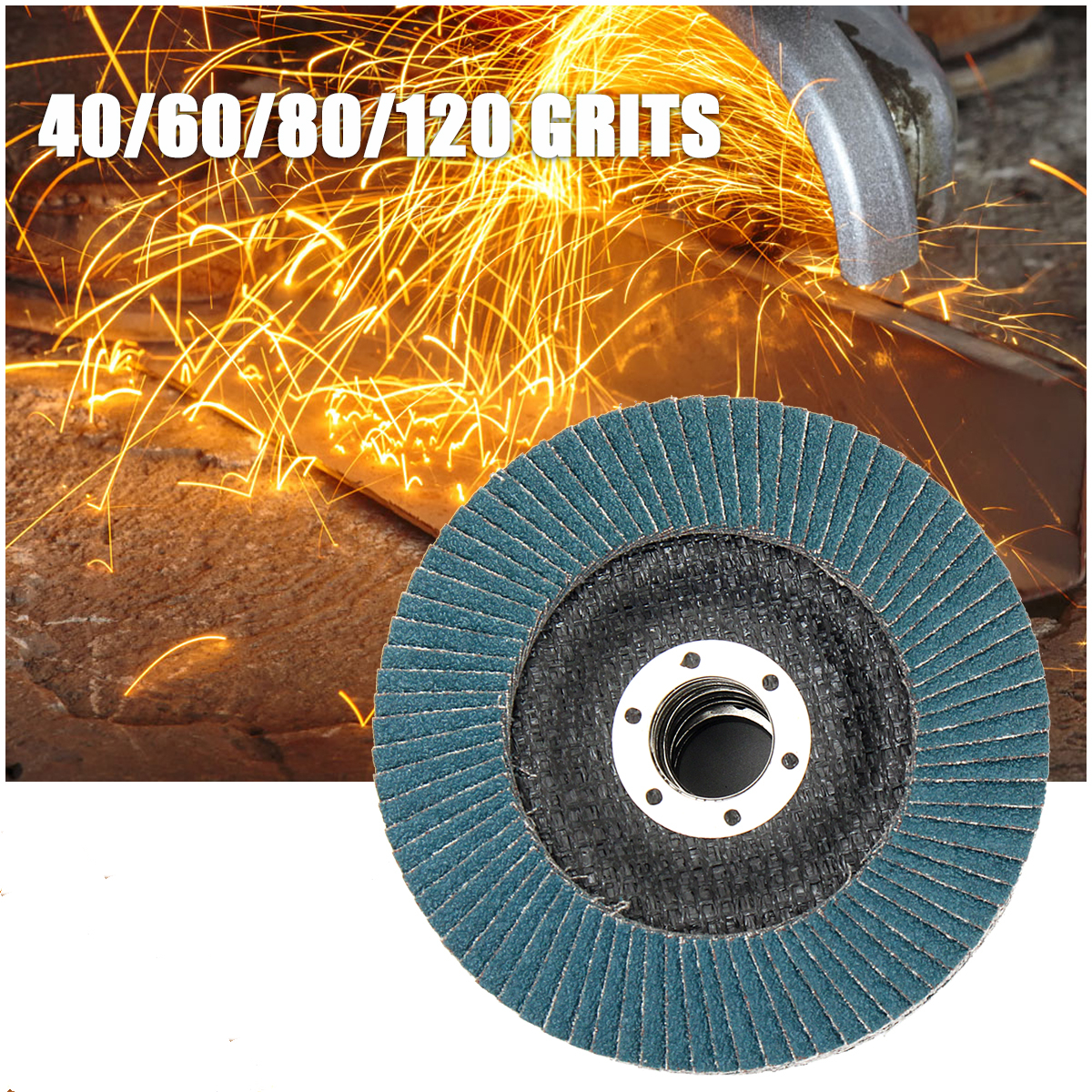 Flap Sanding Disc 115mm 40/60/80/120 Grits Round Sandpaper Sanding Paper Discs 4.5 Inches Grinding Wheels Flap Discs