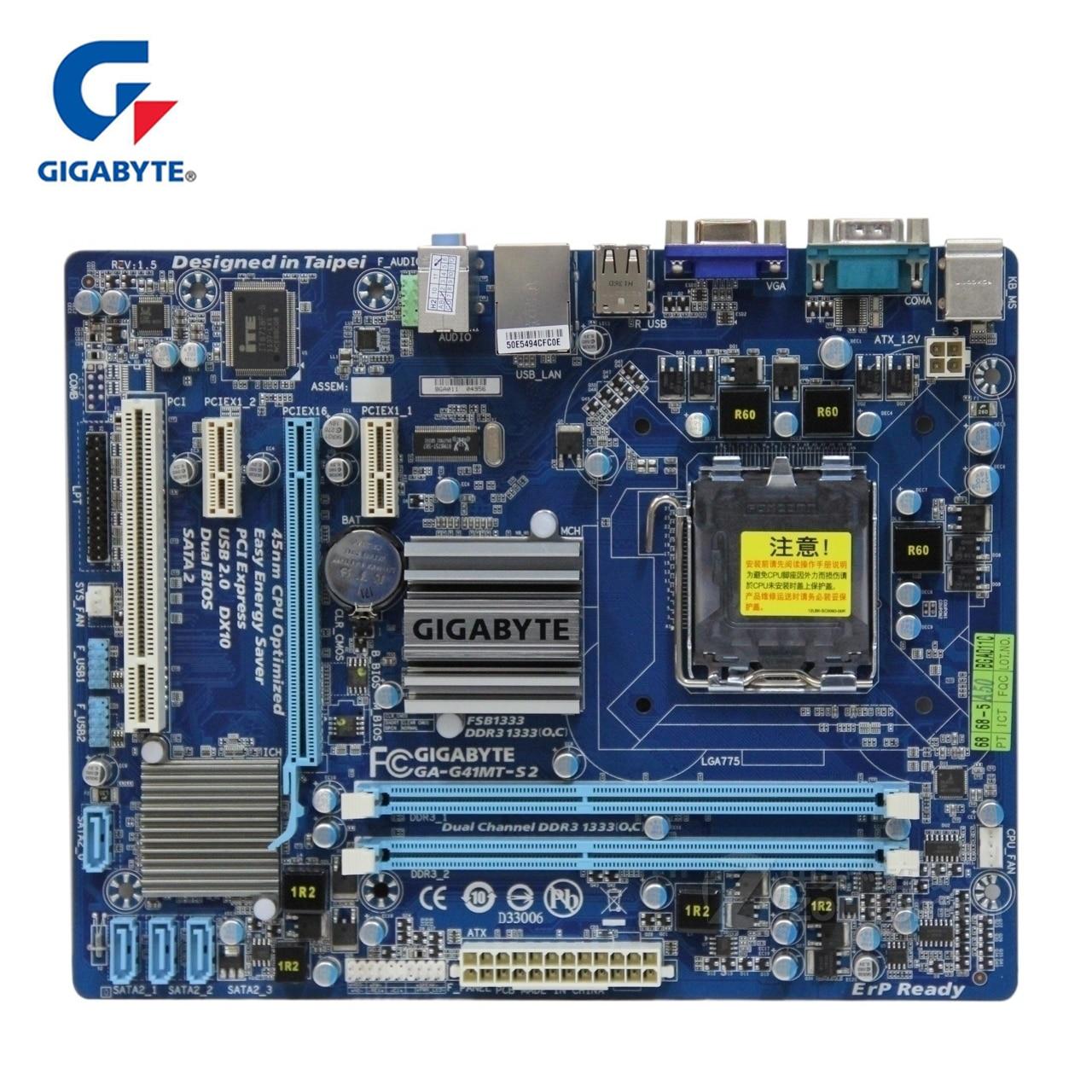 100% Gigabyte GA-G41MT-S2 SATA2 USB2.0 DDR3 Micro ATX Mainboard Desktop Motherboard LGA 775 Para Intel G41 D3H DDR3 G41MT S2 usado