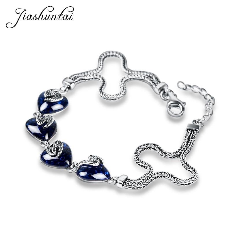 JIASHUNTAI Retro 100% 925 Sterling Silver Bracelets For Women Vintage Silver Jewelry Female vintage retro 100