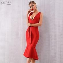 4b916873d ADYCE Verano mujeres vestido vendaje Vestidos Verano 2019 tanque rojo con  cuello en V profundo Sexy sirena sin mangas ajustado c.