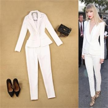 2018 Spring and summer women's new Slim minimalist suit +9 small white pants feet pants two-piece suit