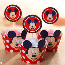 24pc Mickey Mouse Cupcake Toppers Wrappers Party Supplies Kids Birthday Wedding Baby Shower Cake Mickey Party Decorations Favors