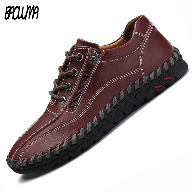 4 Colors Genuine Leather Casual Men Shoes Walking Sneakers Men Casual Shoe Lace Up Mocassins Black Men Loafers Big Size 38-48