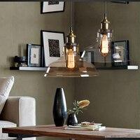 Vintage pendant lights iron white glass hanging bell pendant lamp E27 110V 220V for dinning room home decor plane tarium