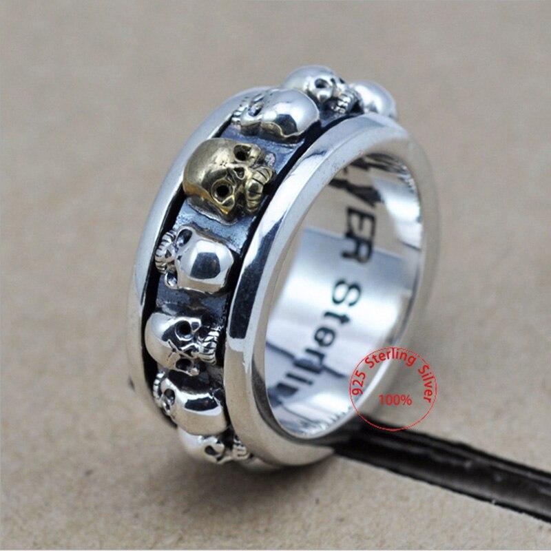 Sterling Silber Schmuck 925 Silber Ring Steampunk Männer Ringe Drehbare Schädel Geist Thai Silber Ring Männer Laser Gravieren Name Logo