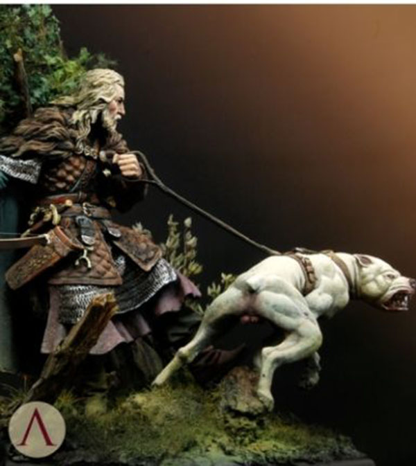 1/24 75mm Medieval Hunter Soldier With Dog 75mm     Toy Resin Model Miniature Resin Figure Unassembly Unpainted