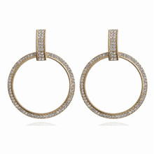 ECODAY Sparkling Round Crystal Statement Earrings Women Big Drop Aretes 2019 Pendientes Brincos Boho Jewelry