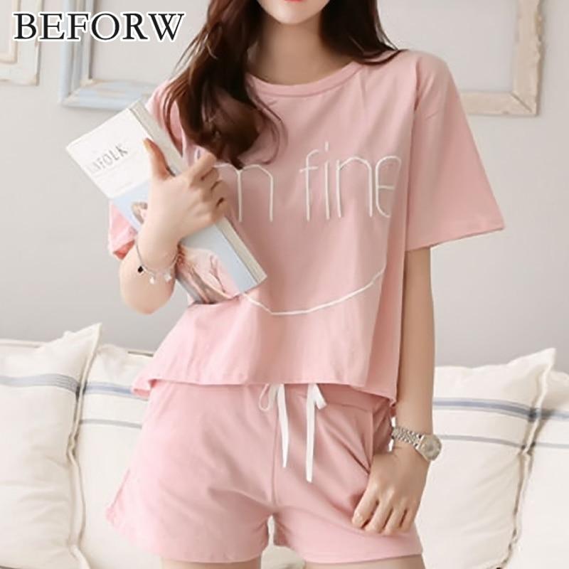 BEFORW Fashion Breathable Pajama Women Summer Comfortable Cozy Alphabet Pijama Set Cute Classic Sleepwear Shorts Women Pajamas