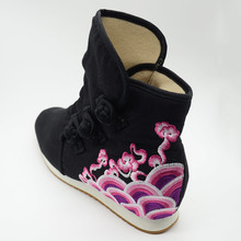 Women Short Ankle Boots Cotton Embroidered