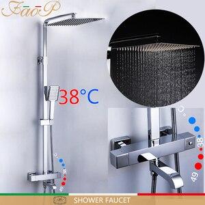 Image 1 - FAOP doccia Rubinetto termostatico rubinetto del bagno miscelatore termostatico doccia a pioggia set miscelatore termostatico rubinetto doccia sistema