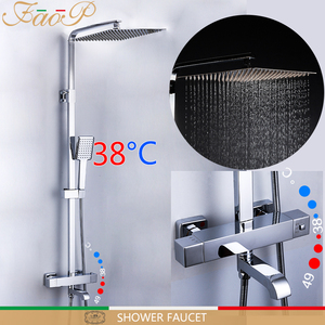 Image 1 - FAOP shower Faucet thermostatic bathroom faucet thermostatic mixer rainfall shower set thermostat mixer tap shower system