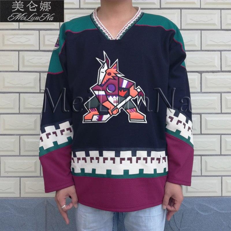 MeiLunNa Phoenix Coyotes blanc 97 Jeremy Roenick noir Hockey Jersey 0001 broderie cousu - 4