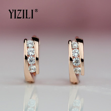 YIZILI,, 585, серьги из розового золота, Круглые, натуральный циркон, висячие, висячие серьги, висячие серьги, модные ювелирные изделия, свадебные, A055