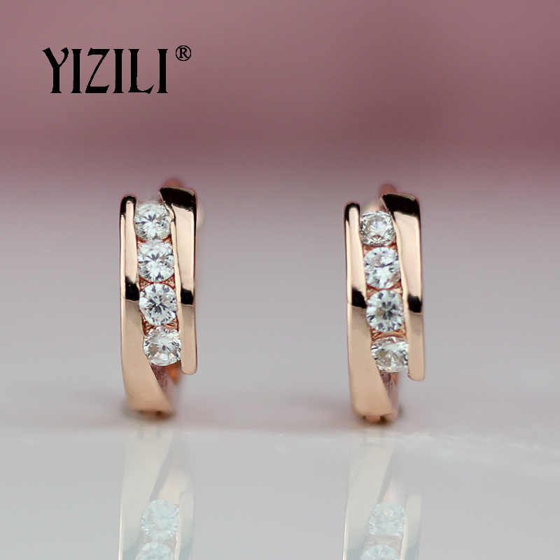 YIZILI hot sale 585 Rose Gold Earrings Round Natural Zircon Hanging Dangle Earrings Drop EarringFashion Jewelry Wedding A055