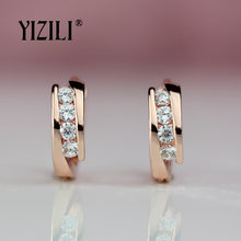 YIZILI hot sale 585 Rose Gold Earrings Round Natural Zircon Hanging Dangle Earrings Drop EarringFashion Jewelry Wedding A055(China)