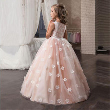 Fancy Flower Long Prom Gowns Teenagers Dresses for Girl Children Party Clothing Kids Evening Formal Dress for Bridesmaid Wedding(China)