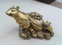 Huij 006304 Chinesischen Kupfer Tierzeichen Ratte Geld Münztüte Bronze Statue (A0314)-in Statuen & Skulpturen aus Heim und Garten bei