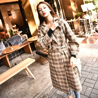 2017 Autumn Winter Outfit New European And American Women Retro Plaid Pattern Dress Lapel Long Sleeves